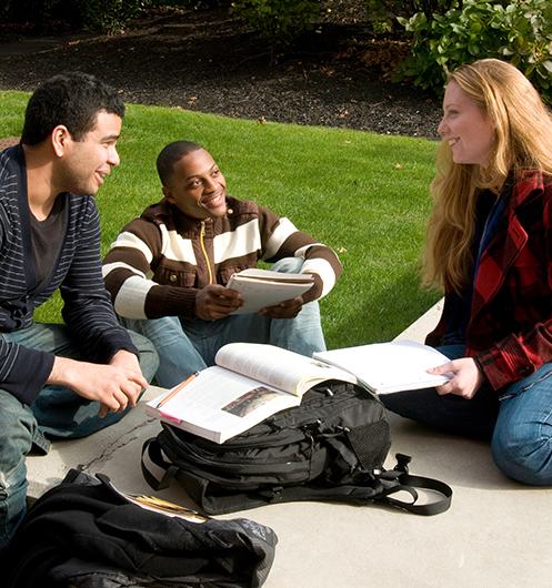 students sitting outside