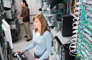 People in a computer server room