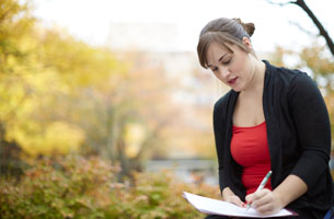 Student and paperwork