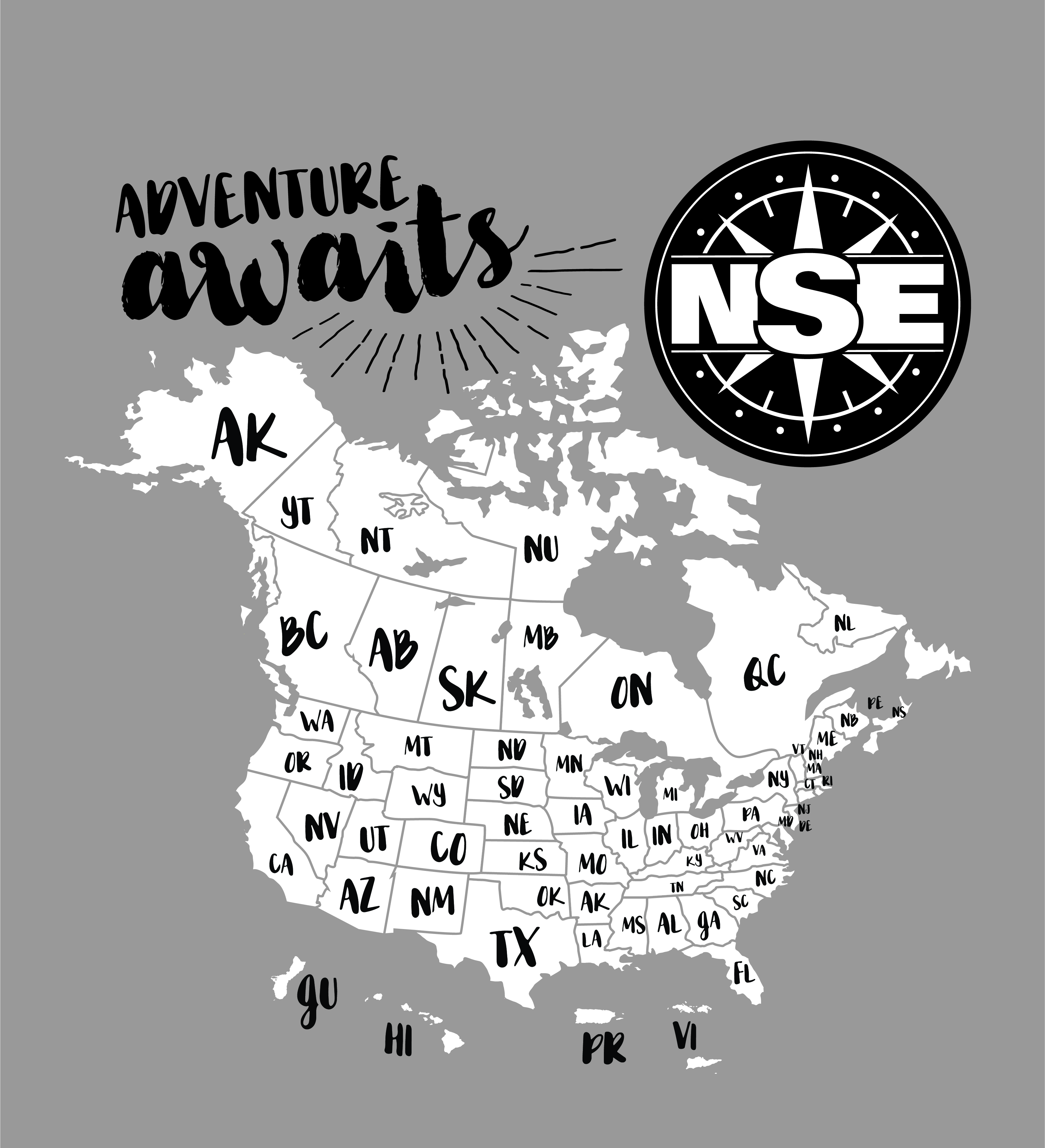 Adventure Awaits Map Cartoon Showing All the States
