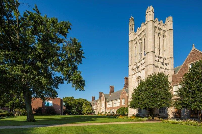 NJCU's iconic Hepburn Hall and bell tower modeled after a 14th-century Norman cathedral