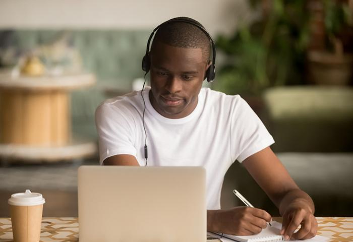 Student participating in online courses