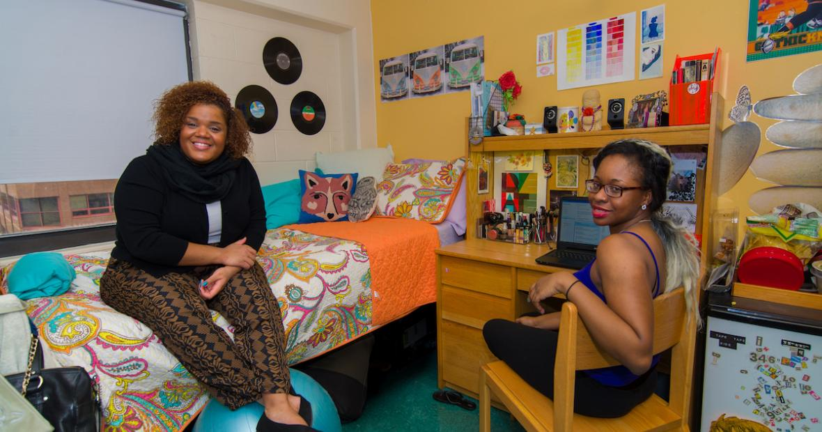 Two Friends in Vodra Hall Dorm Room
