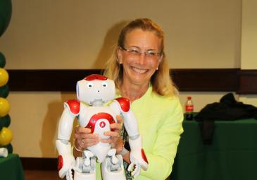 president with ed tech robot