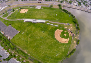 athletic complex drone view