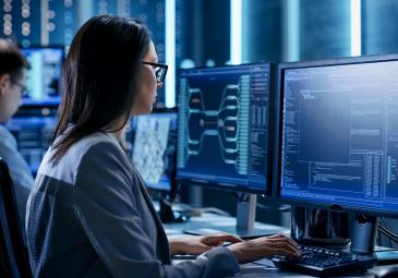 woman working in cyber security lab
