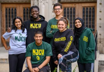 NJCU students wearing university apparel