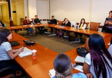 classroom roundtable with students