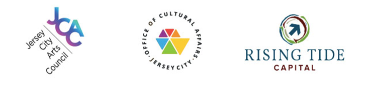 Logos of Jersey City Office of Cultural Affairs, The Jersey City Arts Council and Rising Tide Capital