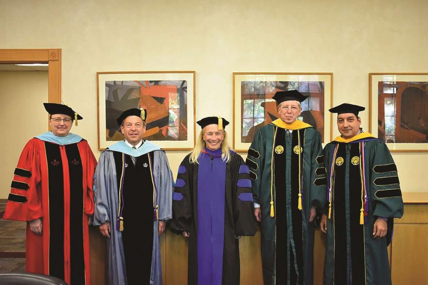 Faculty dressed for the commencement ceremony.