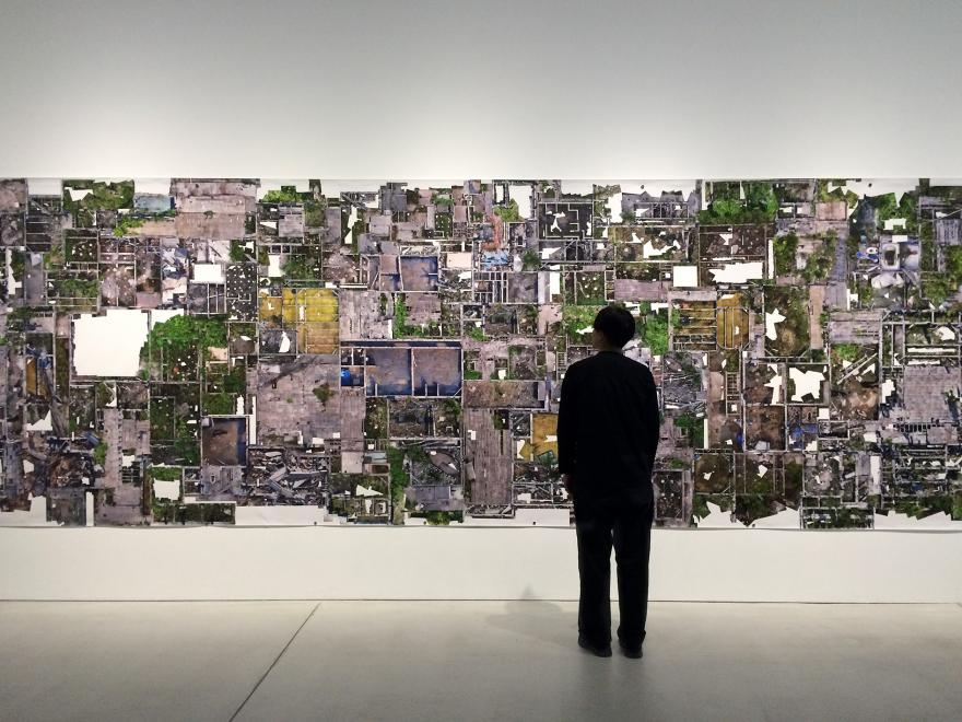 Person looking at an image in an exhibit showing a top view of an area.