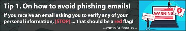 Information on how to avoid phishing emails.