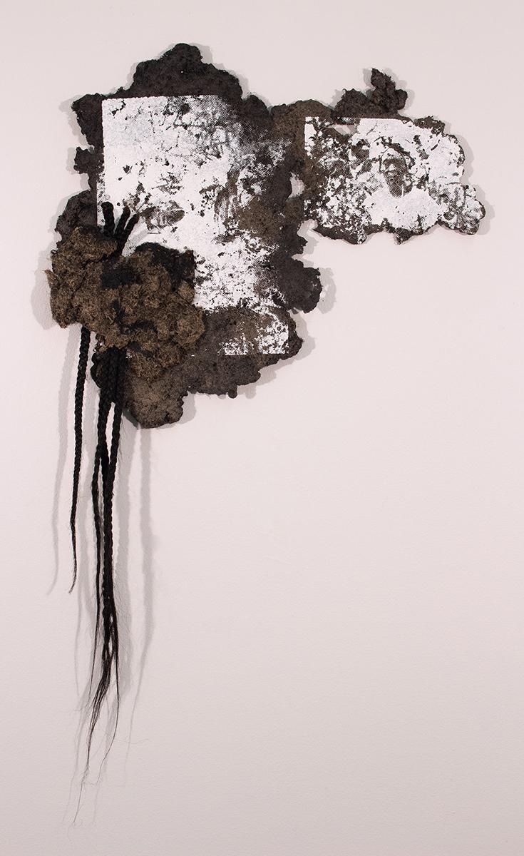 Adebunmi Gbadebo, History Paper Portrait: Uprooted, 2018, hair made into paper, thread, silk screen, artificial braids. Courtesy Claire Oliver Gallery.