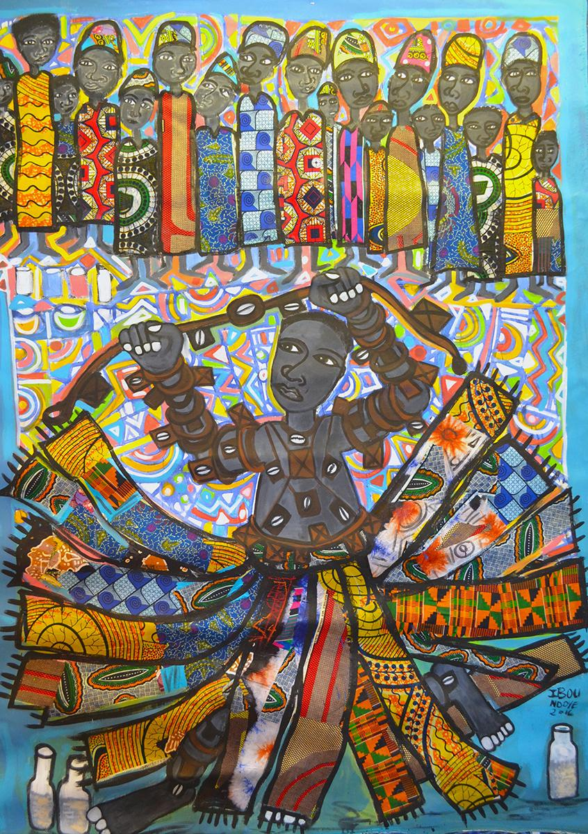 Ibou Ndoye, The Wrestler, 2016, mixed media on canvas