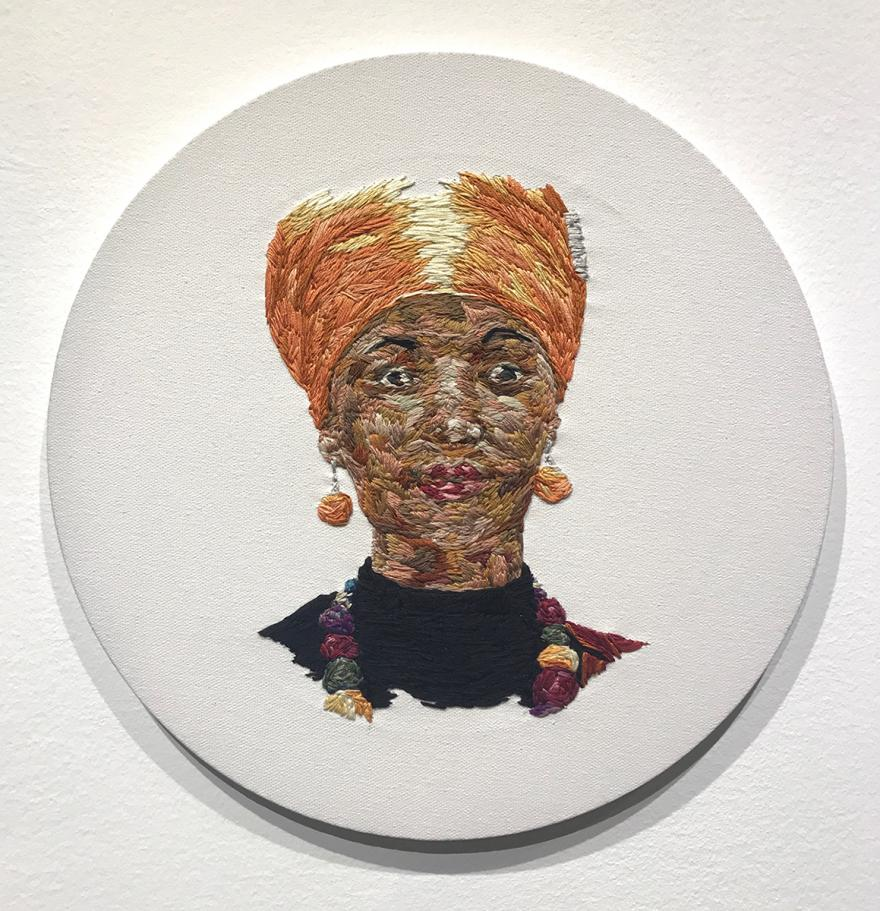 Julie Marie Seibert, Ilhan Omar, 2019, cotton thread on canvas
