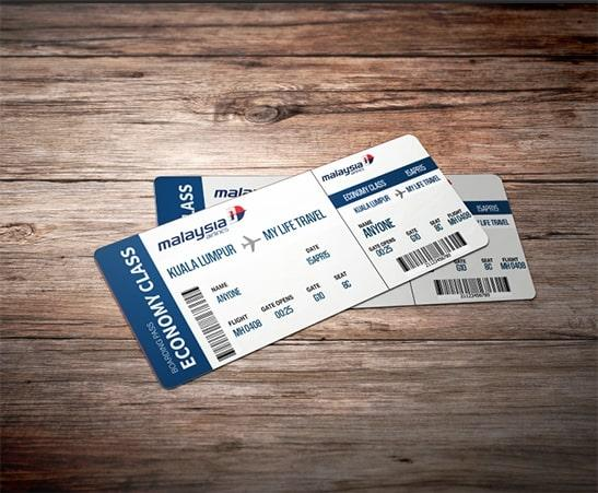 Customized MAS boarding pass