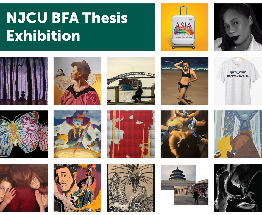 Collage of work from BFA students showing in Spring 2020