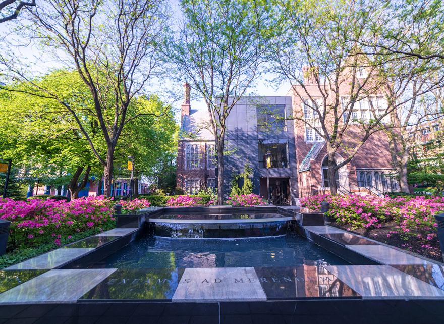 Quad Fountain on Campus with Flowers