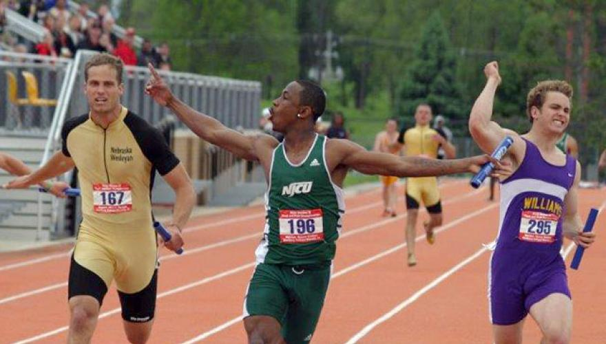 Anthony Miles, NJCU track star, wins national title on May 28, 2005.