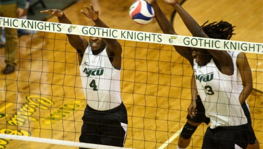 NJCU Men's volleyball game being played
