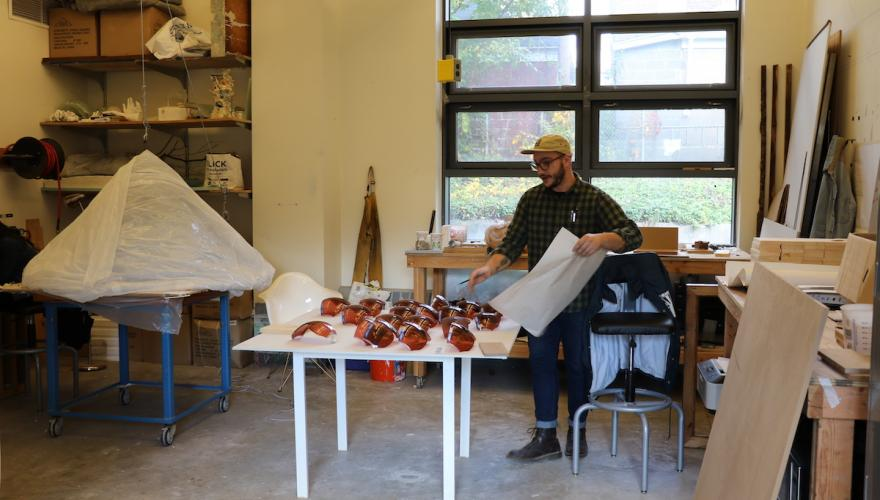 Graduate Sculpture Student in his NJCU studio