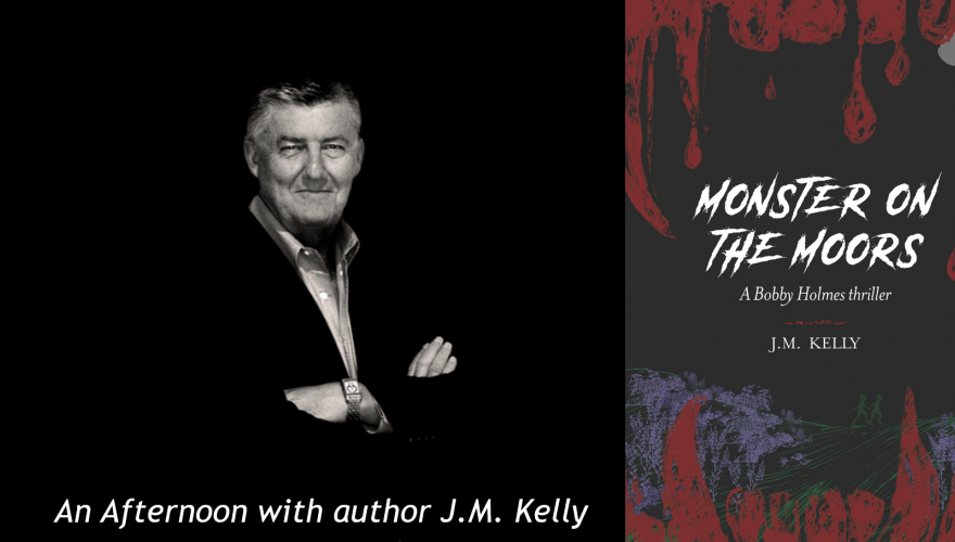 J.M Kelly and the cover of his book Monster on the Moors