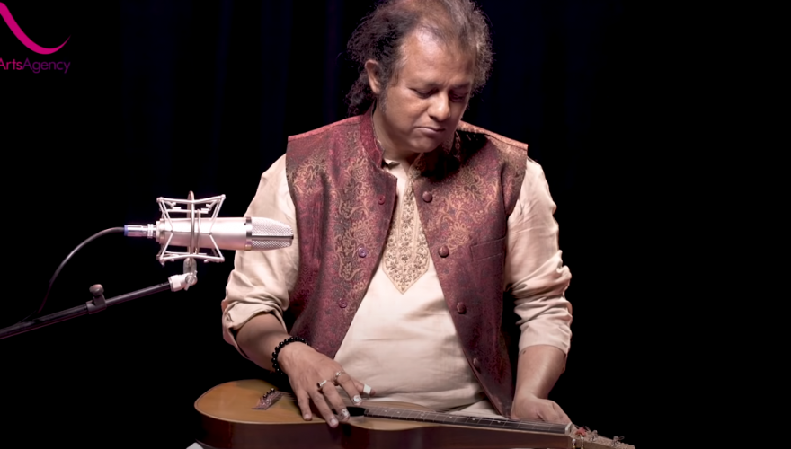 Debashish Bhattacharya and his slide guitar