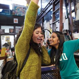 female students at a record store