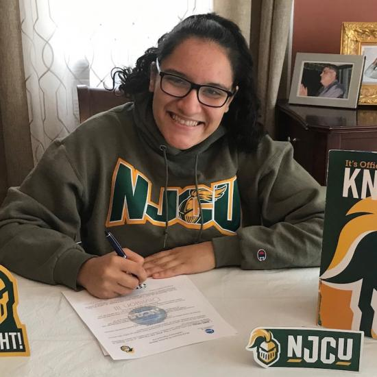 Sandra Guerrero With NJCU Swag
