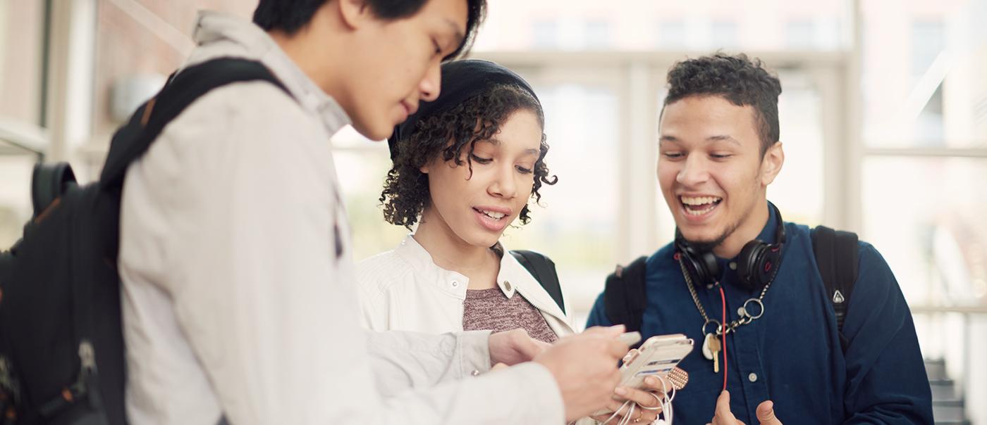 students on smart phones